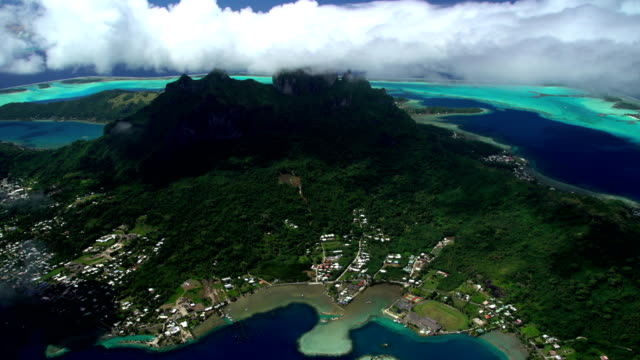 Aerial Bora Bora Mt Otemanu Vaitape South Pacific