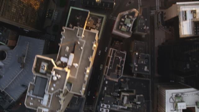 aerial boston skyline dusk, fwd to straight down - boston massachusetts stock videos & royalty-free footage