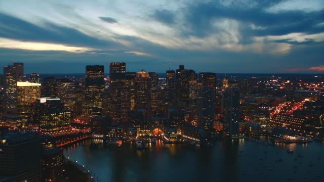 aerial boston skyline, dusk to night - back bay boston stock videos & royalty-free footage