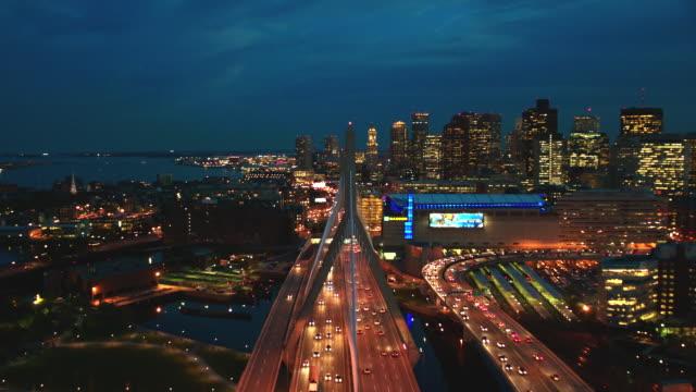 aerial boston skyline, dusk to night - massachusetts stock videos & royalty-free footage