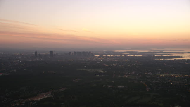 aerial boston skyline dusk - fluss charles stock-videos und b-roll-filmmaterial