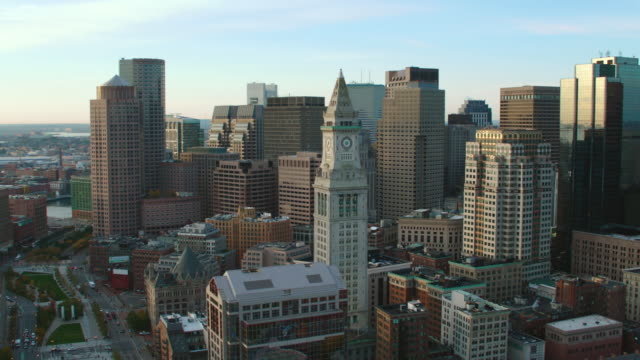 aerial boston skyline, dusk - clock tower stock videos & royalty-free footage