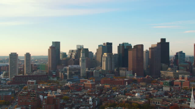 aerial boston skyline, dusk - back bay boston stock videos & royalty-free footage
