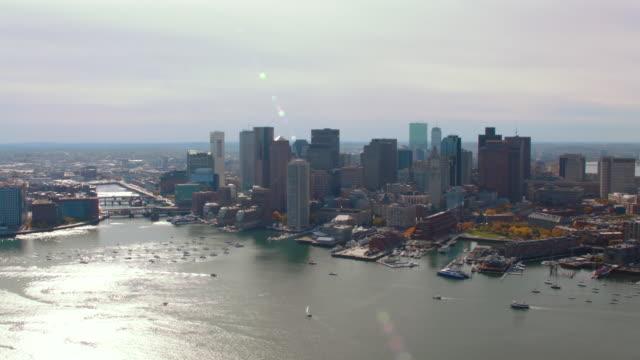 aerial boston skyline, over harbor - back bay boston stock videos & royalty-free footage
