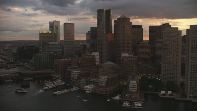 aerial boston skyline sunset - river charles stock videos & royalty-free footage