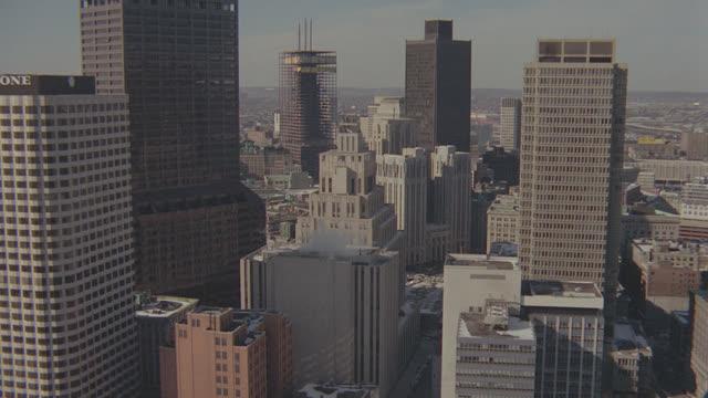 aerial boston; winter, snow on ground - boston massachusetts stock videos & royalty-free footage