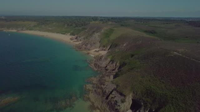 aerial breton coast - atlantic ocean stock videos & royalty-free footage