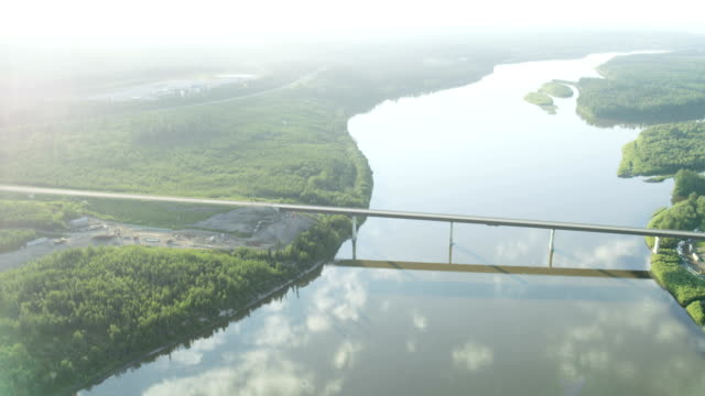 aerial bridge to nowhere athabasca river fort mcmurray - pipeline stock videos and b-roll footage