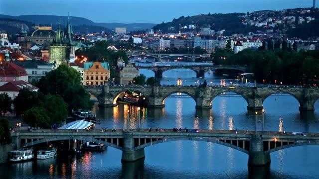 Aerial Bridges on Vltava, Prague dusk Czech Republic