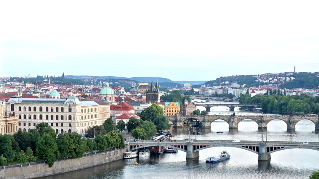 aerial bridges on vltava, prague dusk czech republic - prague stock videos & royalty-free footage