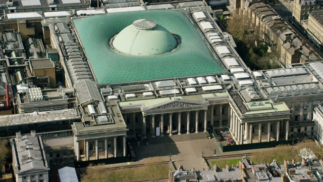 aerial british museum london closed due to coronavirus - nhs stock videos & royalty-free footage