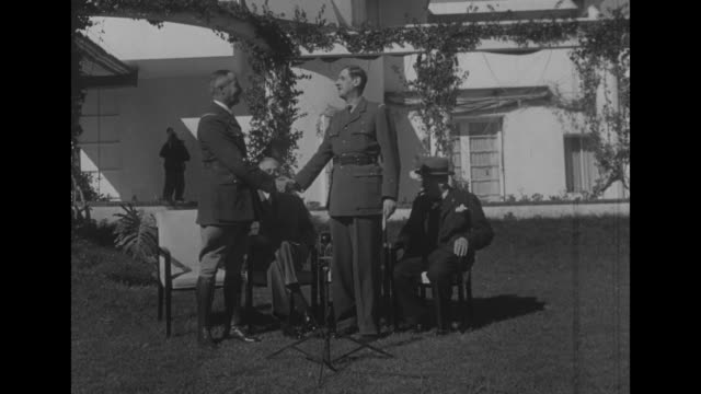 aerial buildings / casablanca conference january 24 anfa hotel photo opportunity seated on the lawn general henri giraud president roosevelt france's... - teheran video stock e b–roll