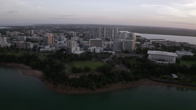 aerial: buildings on a peninsula in the city of darwin - northern territory australia stock videos & royalty-free footage