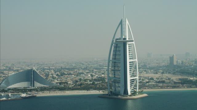 Aerial Burj al Arab 7 star hotel Dubai