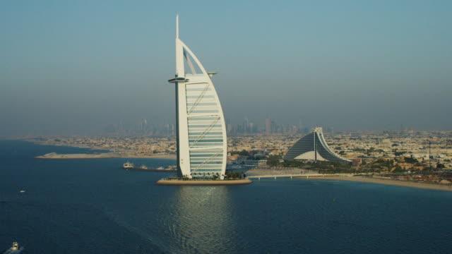 Aerial Burj al Arab 7 star hotel Jumeirah