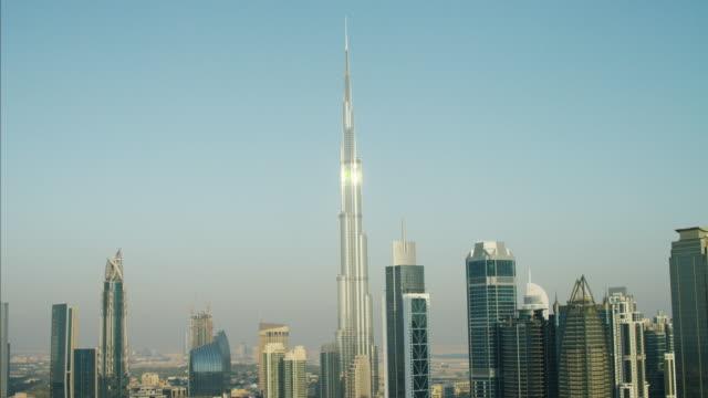 aerial burj khalifa skyscraper downtown dubai persian gulf - burj khalifa stock videos & royalty-free footage