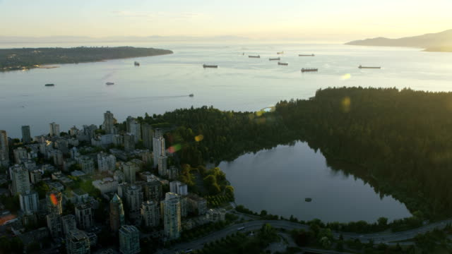 aerial burrard inlet english bay british columbia canada - anchored stock videos & royalty-free footage