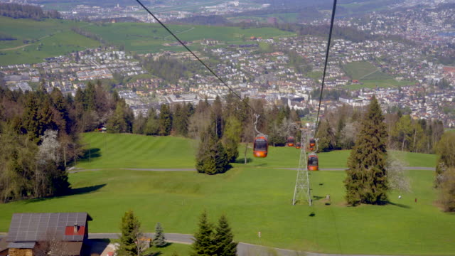 aerial cable car to the pilatus mountain - overhead cable car stock videos & royalty-free footage
