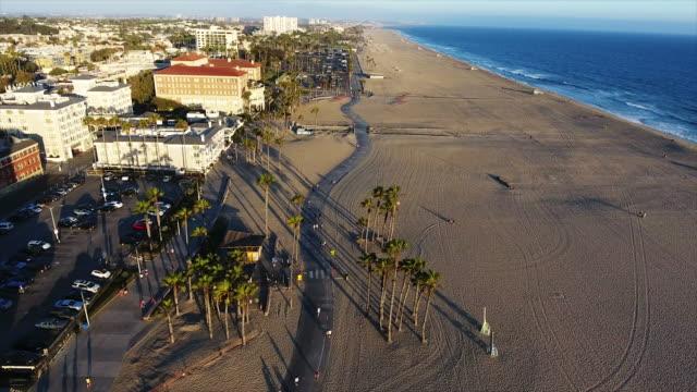 aerial, california beach at sunset - santa monica stock videos and b-roll footage