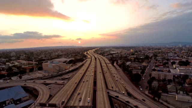 aerial california los angeles freeway - population explosion stock videos & royalty-free footage