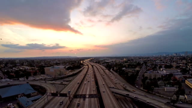 Aerial California Los Angeles Freeway