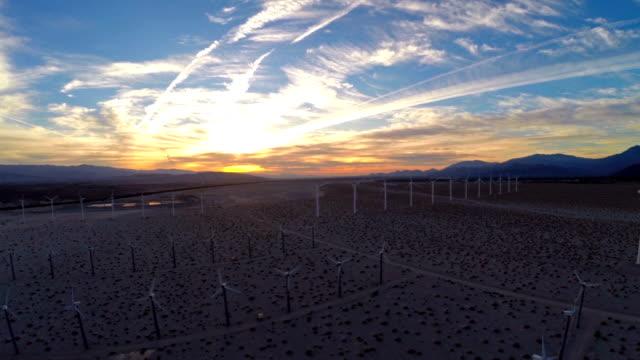 aerial california wind mills - straßenüberführung stock-videos und b-roll-filmmaterial