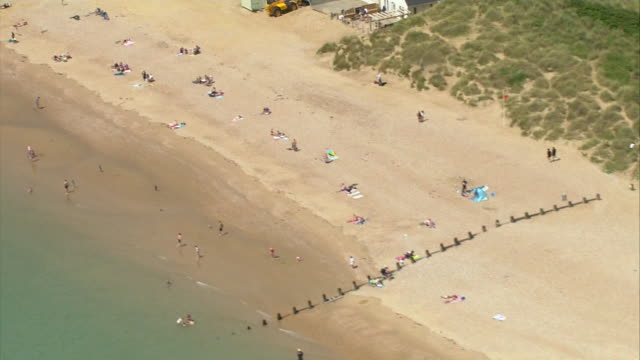 aerial camber sands beach - east sussex stock videos & royalty-free footage