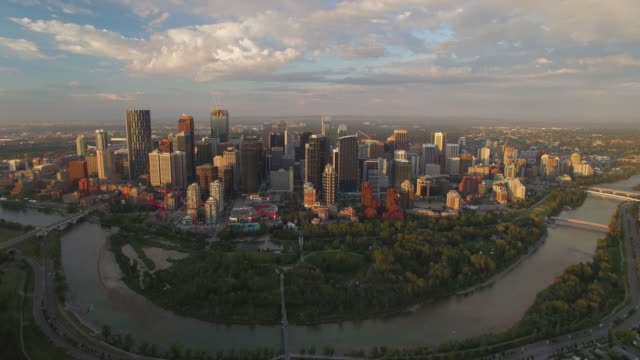 4K Aerial Canada: Bow River and Calgary Downtown