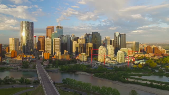 4K Aerial Canada: Calgary Skyline Bathed in Morning Sunlight