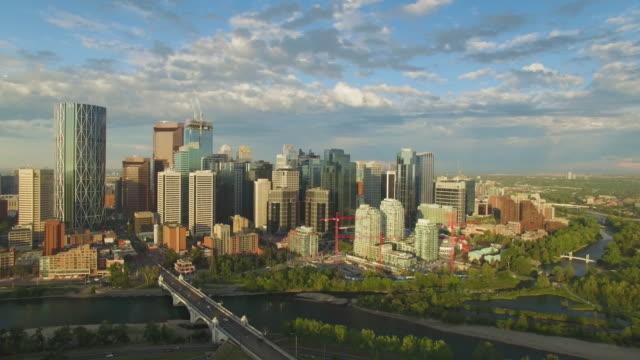 4k aerial canada: calgary skyline - calgary stock videos & royalty-free footage