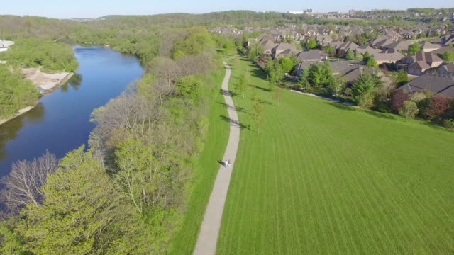 4K Aerial Canada: Couple Walking on Trail