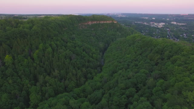 4k aerial canada: dundas valley at sunset - ontario canada stock videos & royalty-free footage