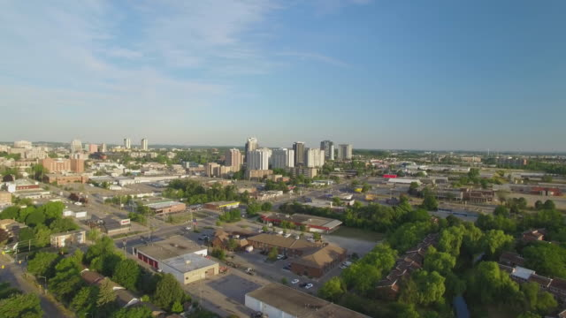4k aerial canada: waterloo cityscape - ontario canada stock videos & royalty-free footage
