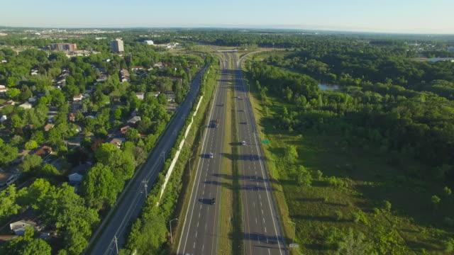 4k aerial canada: waterloo highway - ontario canada stock videos & royalty-free footage