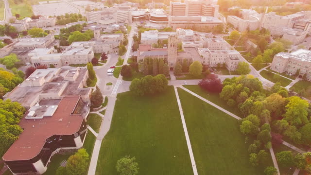 4K Aerial Canada: Western University at Sunset