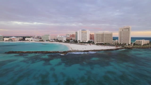 aerial cancun: coastline sunrise - cancun stock videos & royalty-free footage
