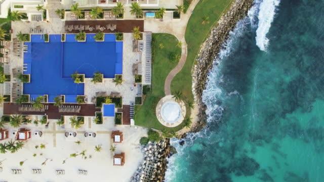 aerial cancun: coastline - cancun stock videos & royalty-free footage