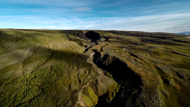 aerial canyon in iceland - crevice stock videos & royalty-free footage