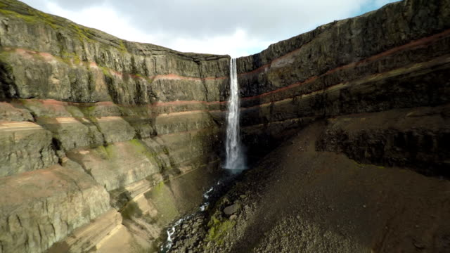 Aerial Canyon with Waterfall - Iceland