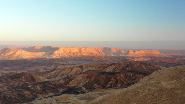 aerial: canyons and mountains of a desert in negev desert, israel - negev stock videos & royalty-free footage