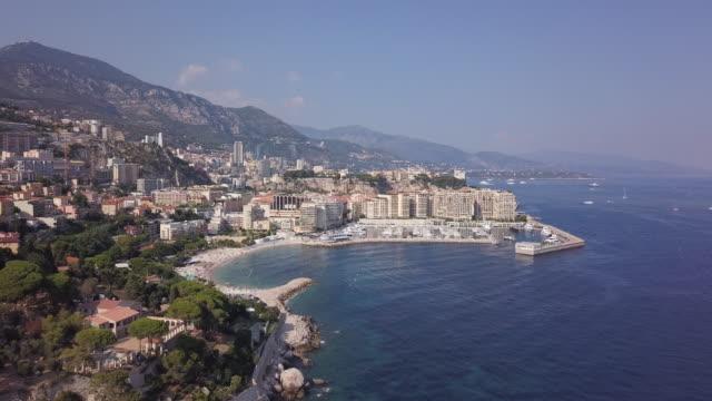aerial, cap d'ail coastline - mediterranean sea stock videos & royalty-free footage