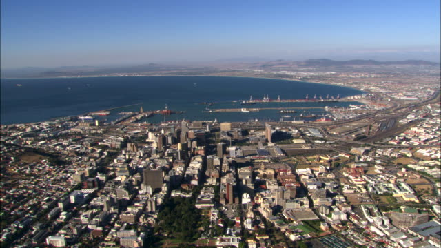 aerial cape town, south africa, city and harbor - cape town stock videos & royalty-free footage