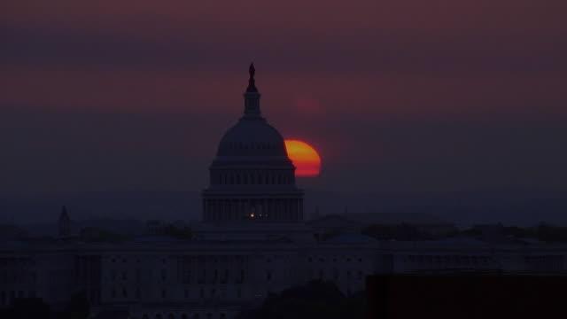 Aerial Capitol Building at sunset / Washington DC