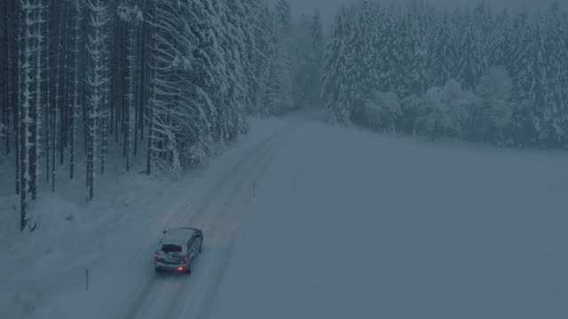 aerial car driving along a snowbound forest road at night - snow storm stock videos and b-roll footage