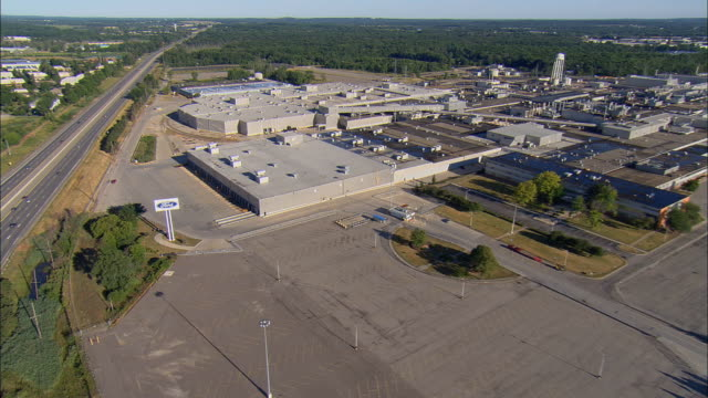 Aerial WS ZO Car factory at Wixom Assembly Plant / Wixom, Michigan, USA