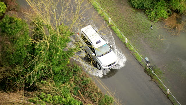 aerial car on flooded roads rural areas uk - flood stock videos & royalty-free footage