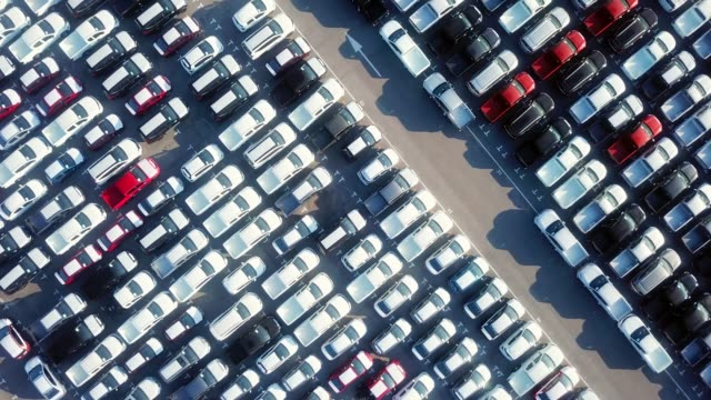 aerial car parking lot - automobile industry video stock e b–roll