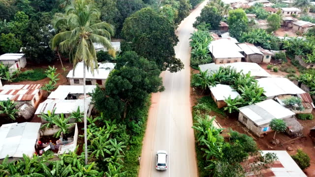 aerial / car riding in african rural area - zanzibar archipelago stock videos & royalty-free footage