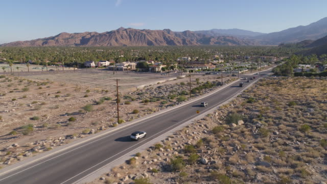 aerial car tracking california - palm springs california stock videos & royalty-free footage