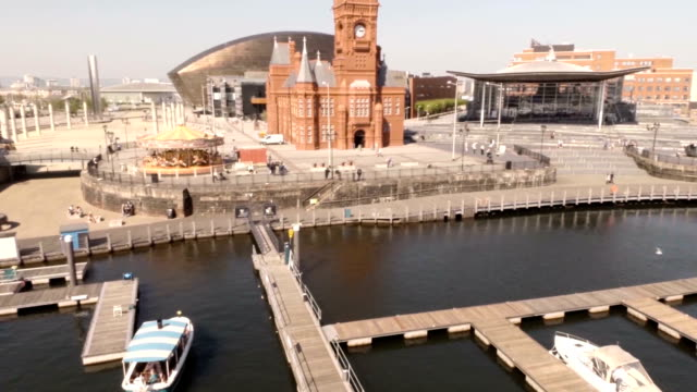 aerial cardiff bay - wales stock videos & royalty-free footage
